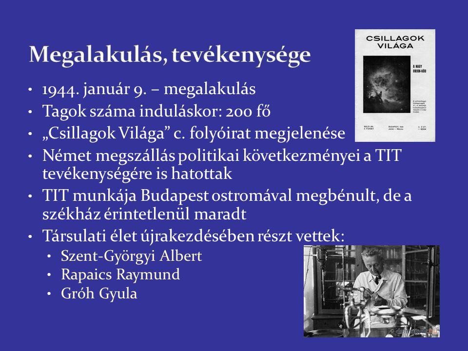 """Ország gazdasági nehézségei – TIT újraindulásának problémái 1944: 10 000-es tagság – 1945: 1000 fős tagság Fontos volt a lapengedély megszerzése 1946: """"Természettudomány c."""