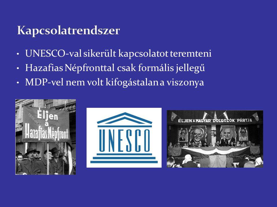 UNESCO-val sikerült kapcsolatot teremteni Hazafias Népfronttal csak formális jellegű MDP-vel nem volt kifogástalan a viszonya