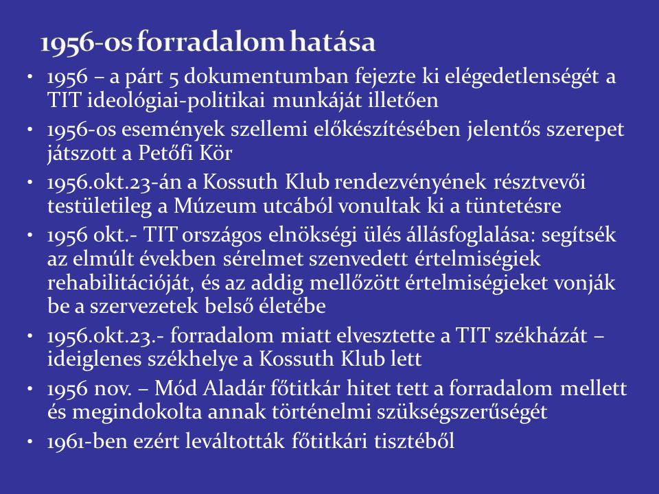 1956 – a párt 5 dokumentumban fejezte ki elégedetlenségét a TIT ideológiai-politikai munkáját illetően 1956-os események szellemi előkészítésében jelentős szerepet játszott a Petőfi Kör 1956.okt.23-án a Kossuth Klub rendezvényének résztvevői testületileg a Múzeum utcából vonultak ki a tüntetésre 1956 okt.- TIT országos elnökségi ülés állásfoglalása: segítsék az elmúlt években sérelmet szenvedett értelmiségiek rehabilitációját, és az addig mellőzött értelmiségieket vonják be a szervezetek belső életébe 1956.okt.23.- forradalom miatt elvesztette a TIT székházát – ideiglenes székhelye a Kossuth Klub lett 1956 nov.