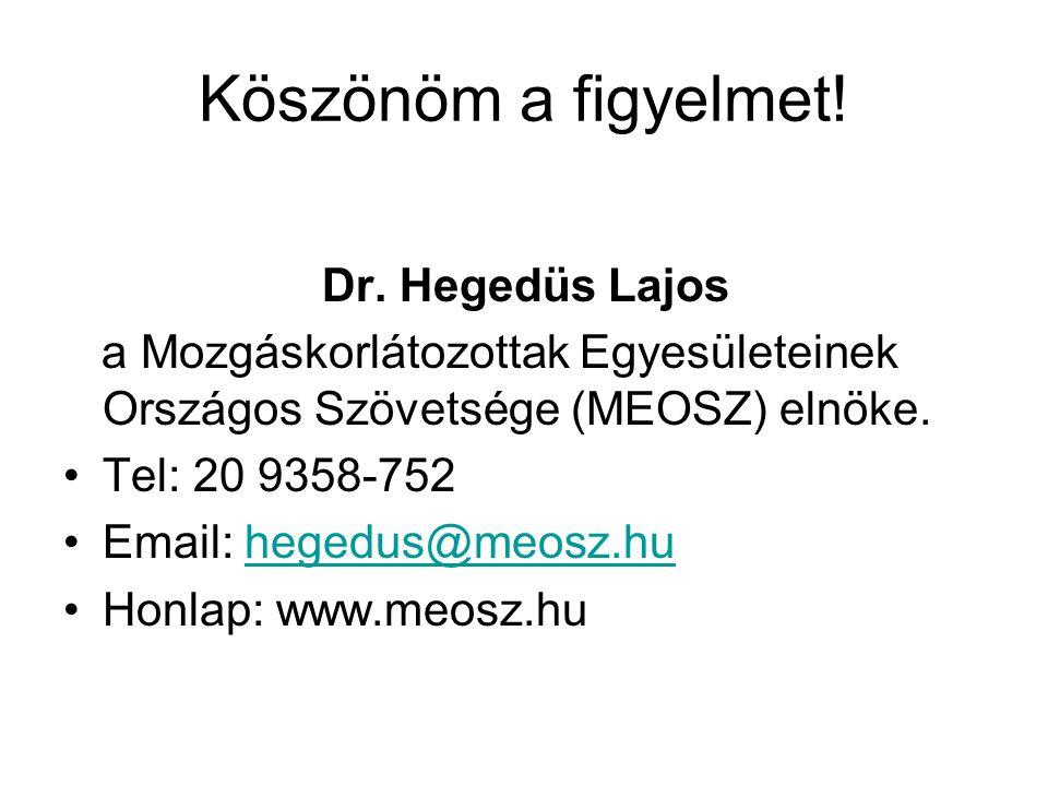 Köszönöm a figyelmet! Dr. Hegedüs Lajos a Mozgáskorlátozottak Egyesületeinek Országos Szövetsége (MEOSZ) elnöke. Tel: 20 9358-752 Email: hegedus@meosz