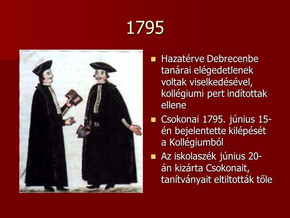1795 Hazatérve Debrecenbe tanárai elégedetlenek voltak viselkedésével, kollégiumi pert indítottak ellene Hazatérve Debrecenbe tanárai elégedetlenek voltak viselkedésével, kollégiumi pert indítottak ellene Csokonai 1795.