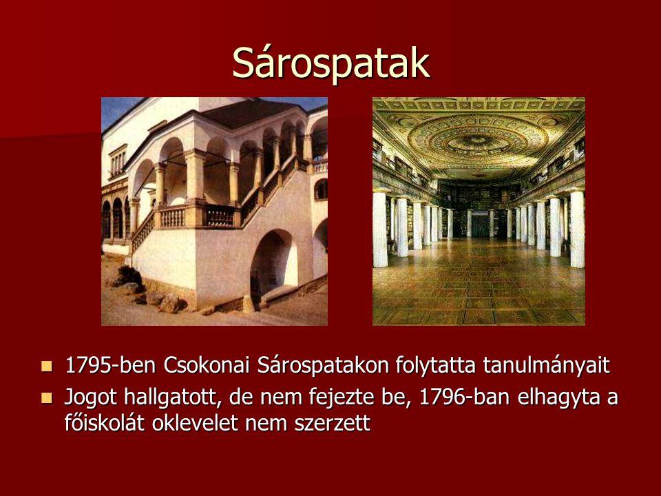 Sárospatak 1795-ben Csokonai Sárospatakon folytatta tanulmányait 1795-ben Csokonai Sárospatakon folytatta tanulmányait Jogot hallgatott, de nem fejezte be, 1796-ban elhagyta a főiskolát oklevelet nem szerzett Jogot hallgatott, de nem fejezte be, 1796-ban elhagyta a főiskolát oklevelet nem szerzett