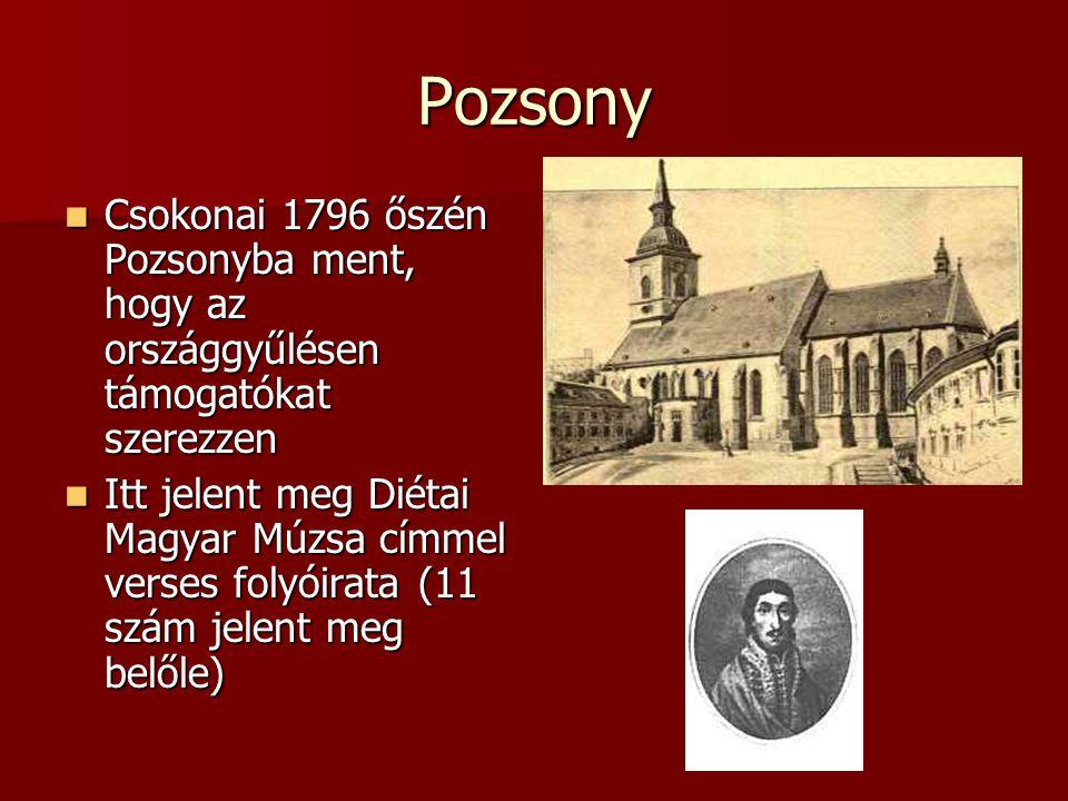 Pozsony Csokonai 1796 őszén Pozsonyba ment, hogy az országgyűlésen támogatókat szerezzen Csokonai 1796 őszén Pozsonyba ment, hogy az országgyűlésen tá