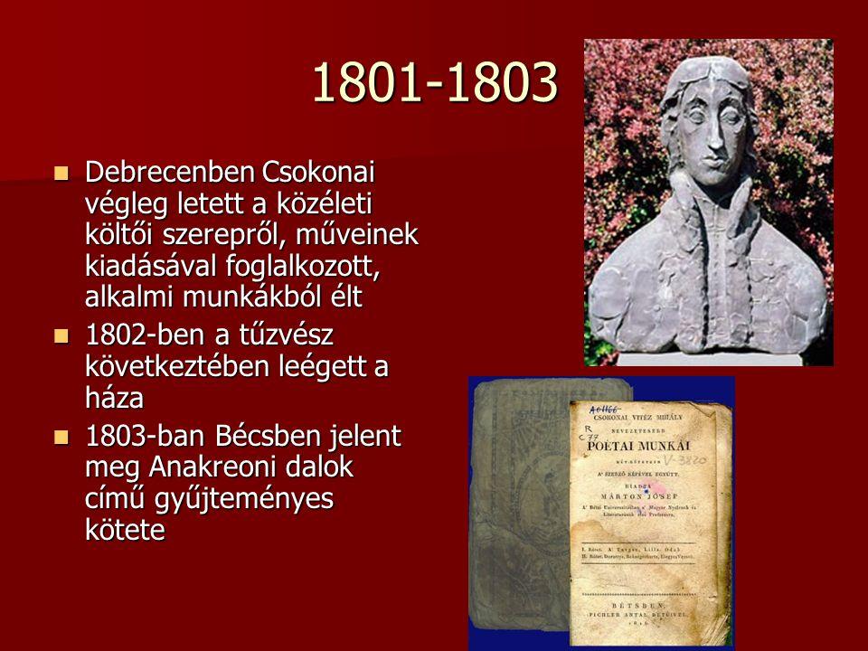 1801-1803 Debrecenben Csokonai végleg letett a közéleti költői szerepről, műveinek kiadásával foglalkozott, alkalmi munkákból élt Debrecenben Csokonai végleg letett a közéleti költői szerepről, műveinek kiadásával foglalkozott, alkalmi munkákból élt 1802-ben a tűzvész következtében leégett a háza 1802-ben a tűzvész következtében leégett a háza 1803-ban Bécsben jelent meg Anakreoni dalok című gyűjteményes kötete 1803-ban Bécsben jelent meg Anakreoni dalok című gyűjteményes kötete