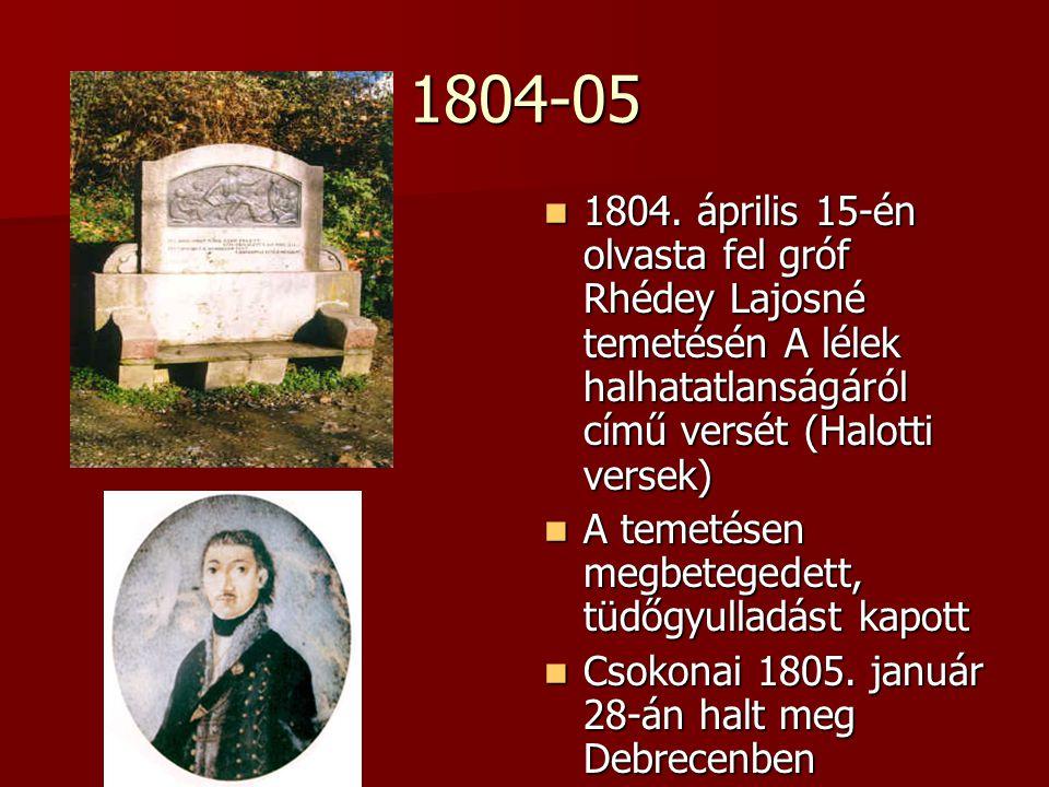 1804-05 1804. április 15-én olvasta fel gróf Rhédey Lajosné temetésén A lélek halhatatlanságáról című versét (Halotti versek) 1804. április 15-én olva