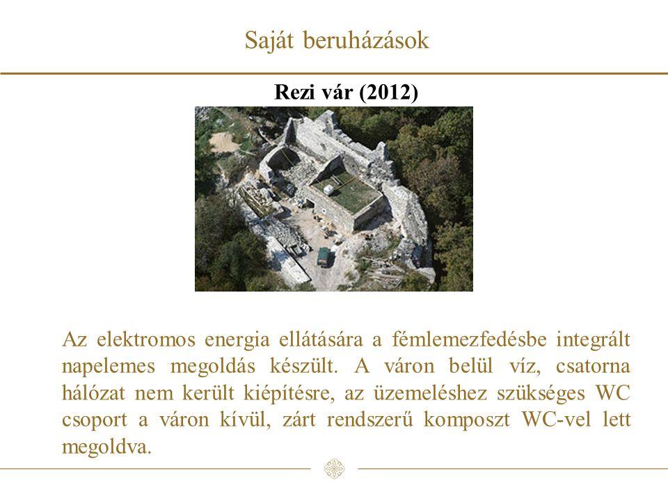 Rezi vár (2012) Az elektromos energia ellátására a fémlemezfedésbe integrált napelemes megoldás készült.