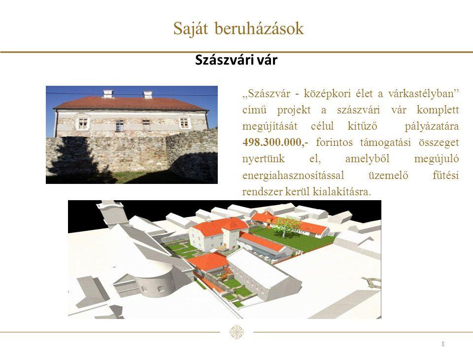 """Saját beruházások 8 Szászvári vár """"Szászvár - középkori élet a várkastélyban című projekt a szászvári vár komplett megújítását célul kitűző pályázatára 498.300.000,- forintos támogatási összeget nyertünk el, amelyből megújuló energiahasznosítással üzemelő fűtési rendszer kerül kialakításra."""