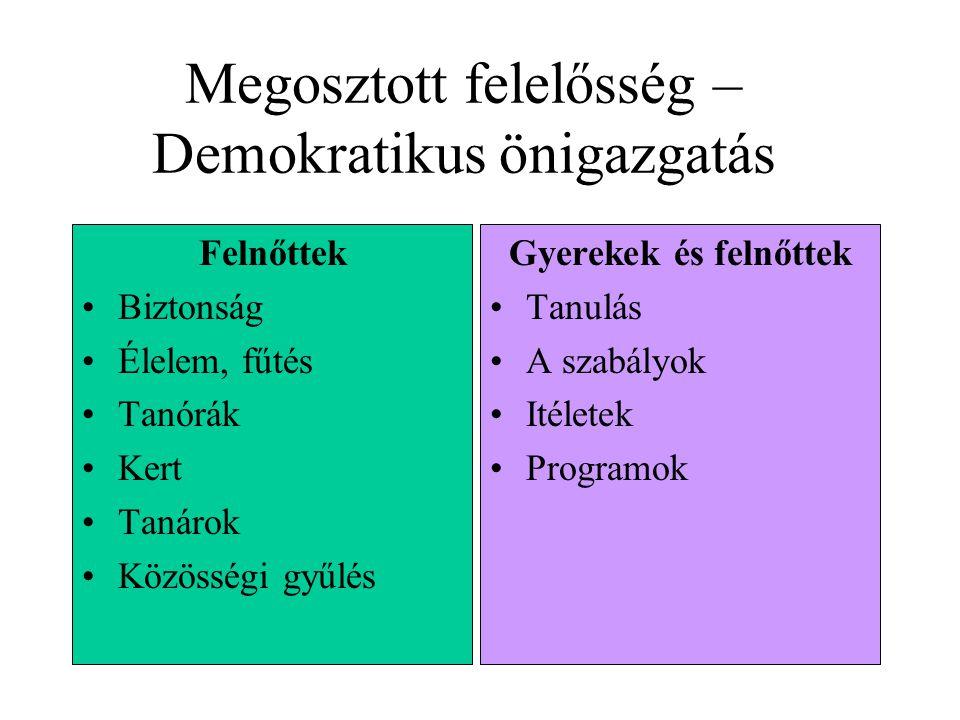Megosztott felelősség Hierachikus szerveződés Megosztott felelősség őnkormányzat