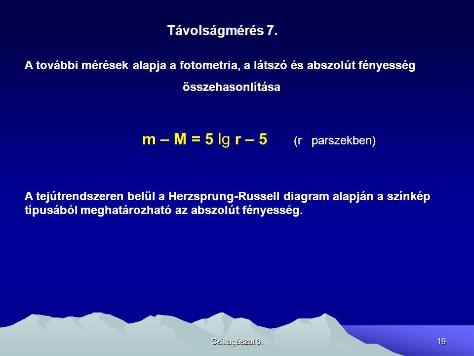 Csillagászat 6.19 Távolságmérés 7.