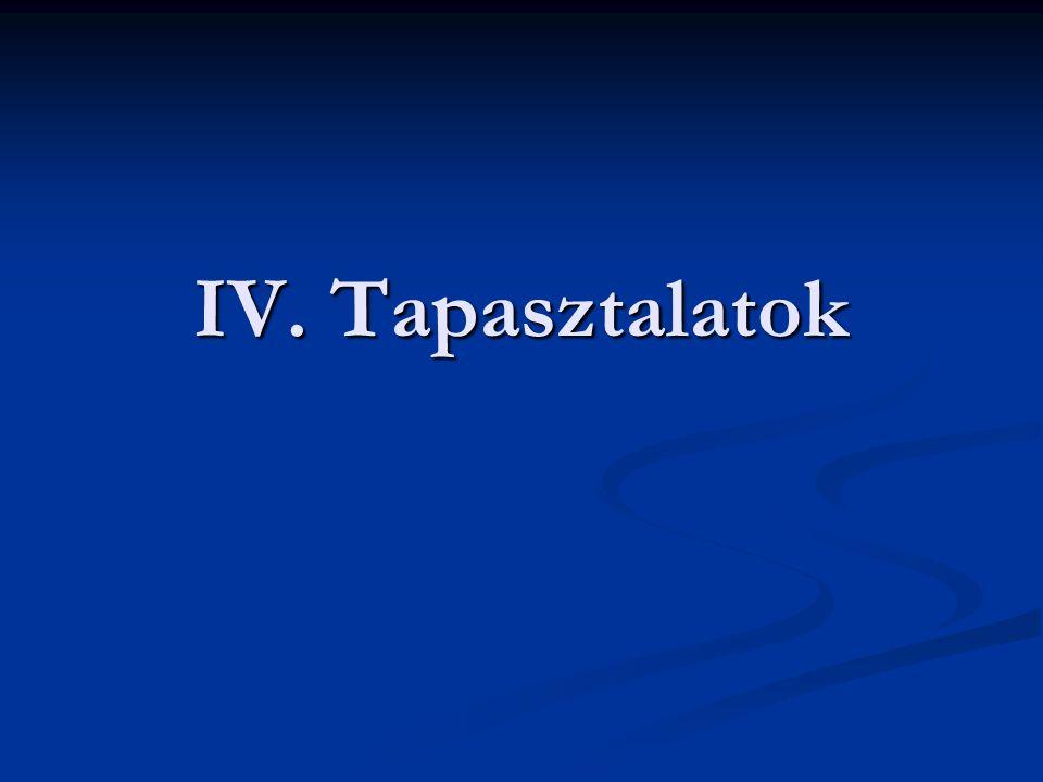 IV. Tapasztalatok
