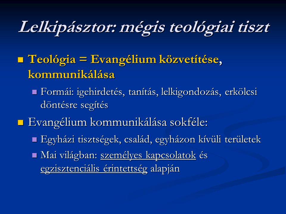 Lelkipásztor: mégis teológiai tiszt Teológia = Evangélium közvetítése, kommunikálása Teológia = Evangélium közvetítése, kommunikálása Formái: igehirde