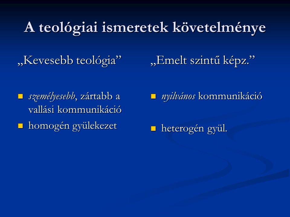"""A teológiai ismeretek követelménye """"Kevesebb teológia"""" személyesebb, zártabb a vallási kommunikáció személyesebb, zártabb a vallási kommunikáció homog"""