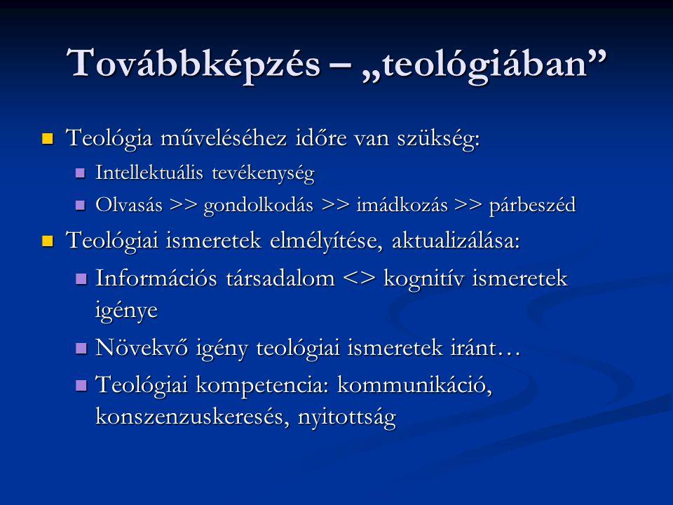 """Továbbképzés – """"teológiában"""" Teológia műveléséhez időre van szükség: Teológia műveléséhez időre van szükség: Intellektuális tevékenység Intellektuális"""