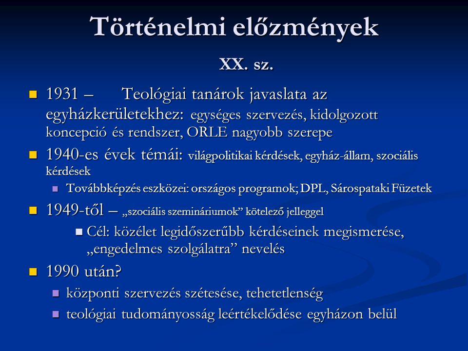 Történelmi előzmények XX. sz. 1931 – Teológiai tanárok javaslata az egyházkerületekhez: egységes szervezés, kidolgozott koncepció és rendszer, ORLE na