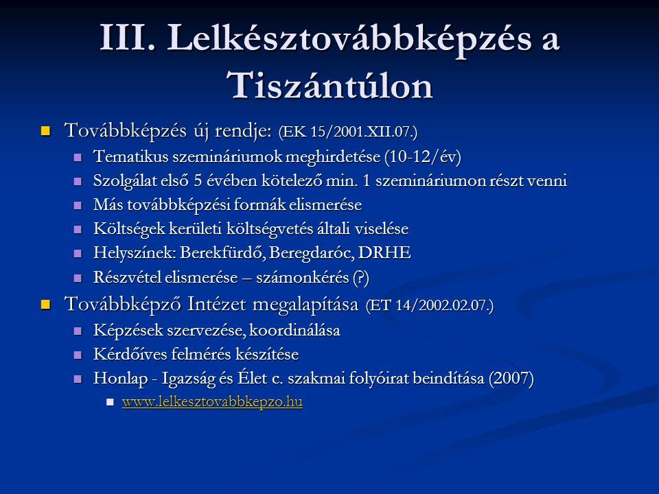 III. Lelkésztovábbképzés a Tiszántúlon Továbbképzés új rendje: (EK 15/2001.XII.07.) Továbbképzés új rendje: (EK 15/2001.XII.07.) Tematikus szeminárium