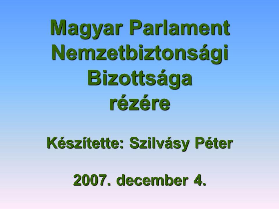 Magyar Parlament Nemzetbiztonsági Bizottsága rézére Készítette: Szilvásy Péter 2007. december 4.