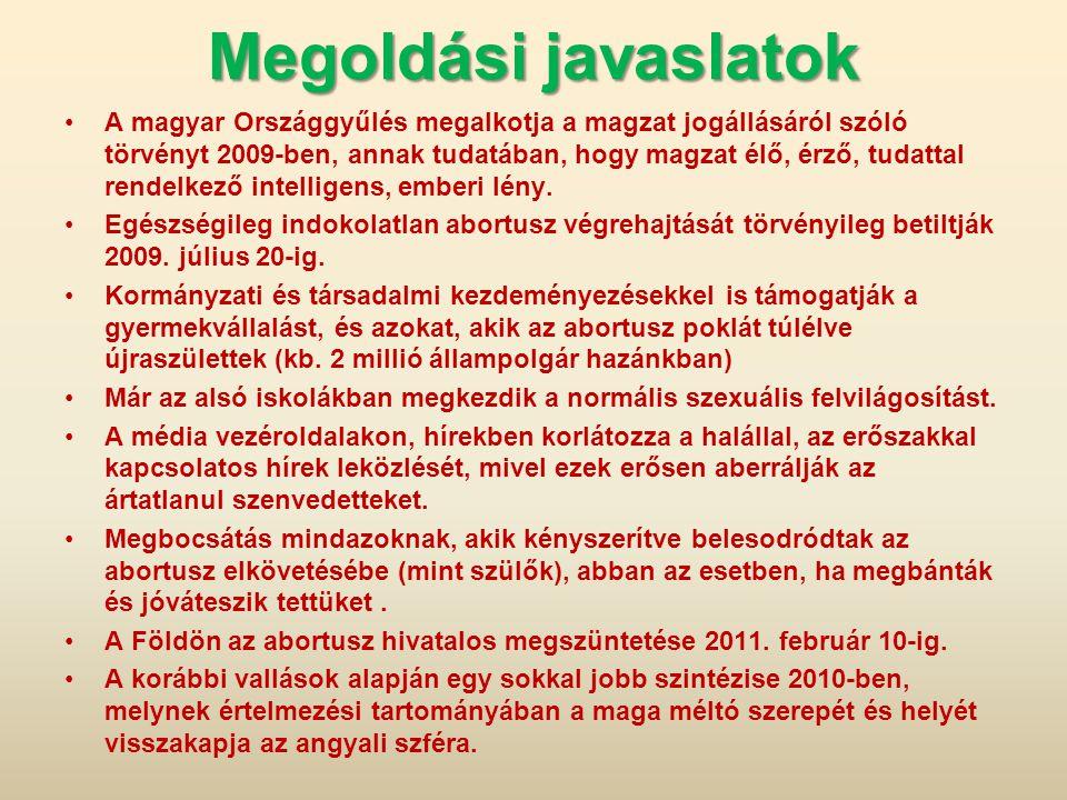 Megoldási javaslatok A magyar Országgyűlés megalkotja a magzat jogállásáról szóló törvényt 2009-ben, annak tudatában, hogy magzat élő, érző, tudattal