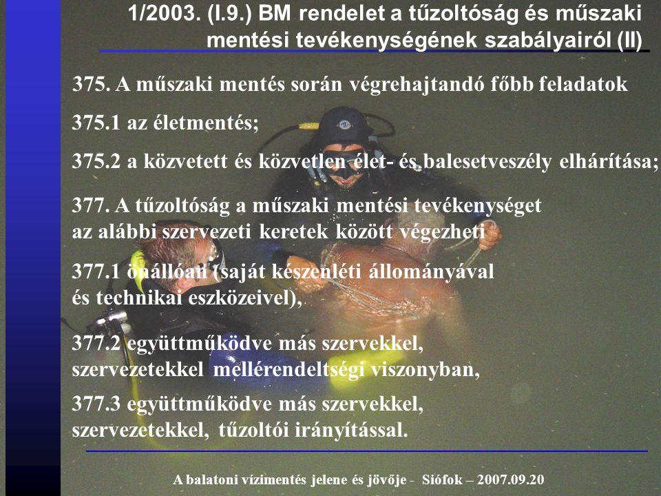 1/2003. (I.9.) BM rendelet a tűzoltóság és műszaki mentési tevékenységének szabályairól (II) 375. A műszaki mentés során végrehajtandó főbb feladatok