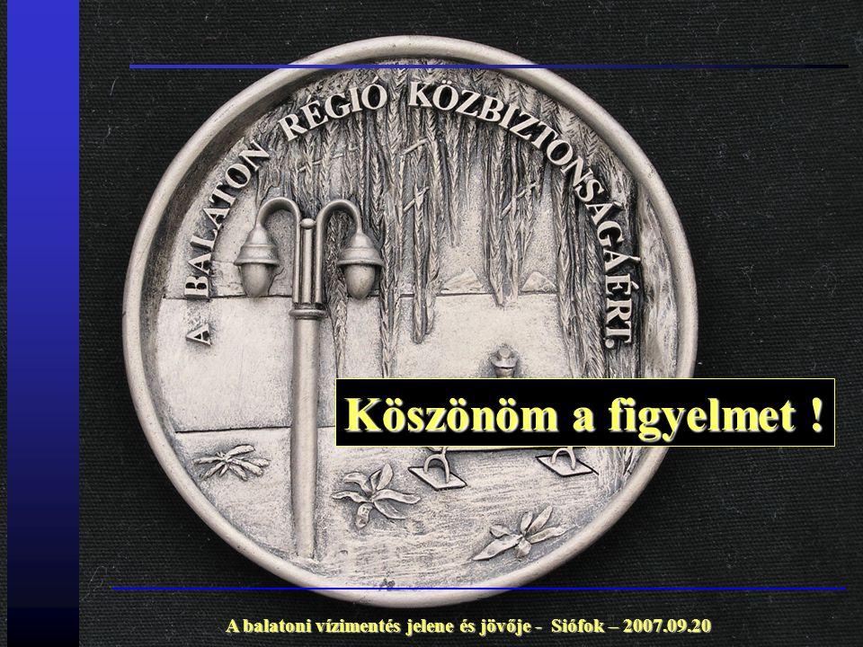 A balatoni vízimentés jelene és jövője - Siófok – 2007.09.20 Köszönöm a figyelmet !
