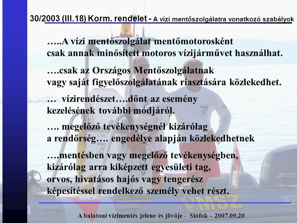 30/2003 (III.18) Korm. rendelet - A vízi mentőszolgálatra vonatkozó szabályok A balatoni vízimentés jelene és jövője - Siófok – 2007.09.20 …..A vízi m