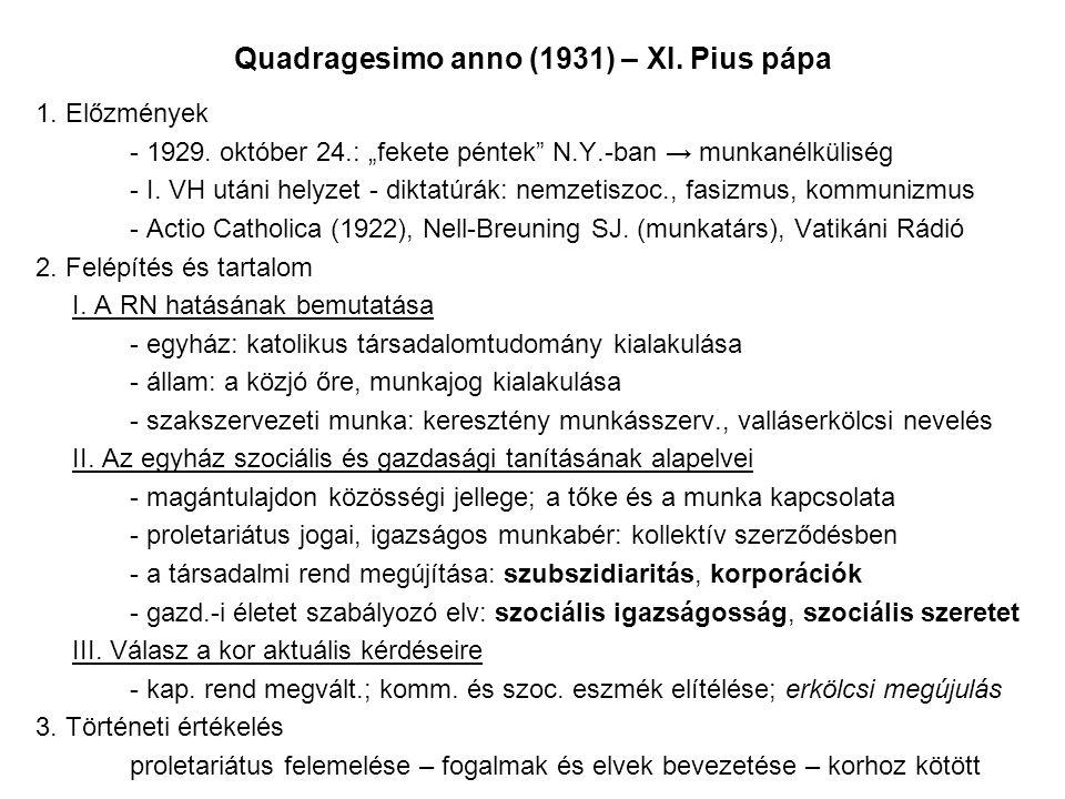 Quadragesimo anno (1931) – XI.Pius pápa 1. Előzmények - 1929.