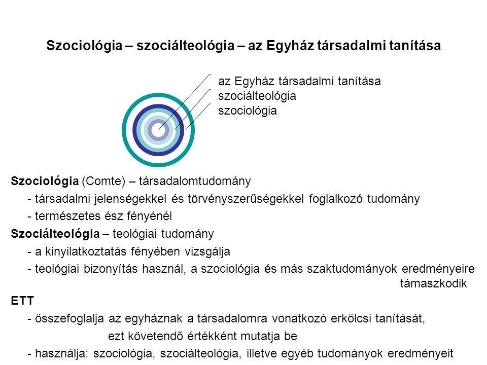 Szociológia – szociálteológia – az Egyház társadalmi tanítása az Egyház társadalmi tanítása szociálteológia szociológia Szociológia (Comte) – társadalomtudomány - társadalmi jelenségekkel és törvényszerűségekkel foglalkozó tudomány - természetes ész fényénél Szociálteológia – teológiai tudomány - a kinyilatkoztatás fényében vizsgálja - teológiai bizonyítás használ, a szociológia és más szaktudományok eredményeire támaszkodik ETT - összefoglalja az egyháznak a társadalomra vonatkozó erkölcsi tanítását, ezt követendő értékként mutatja be - használja: szociológia, szociálteológia, illetve egyéb tudományok eredményeit