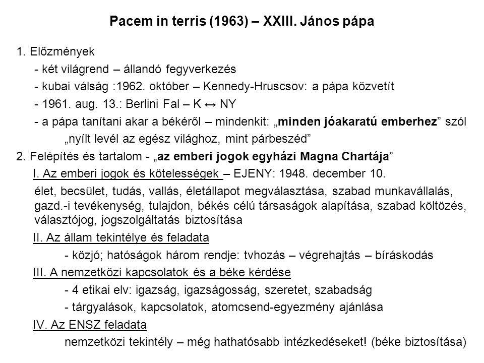 Pacem in terris (1963) – XXIII.János pápa 1.