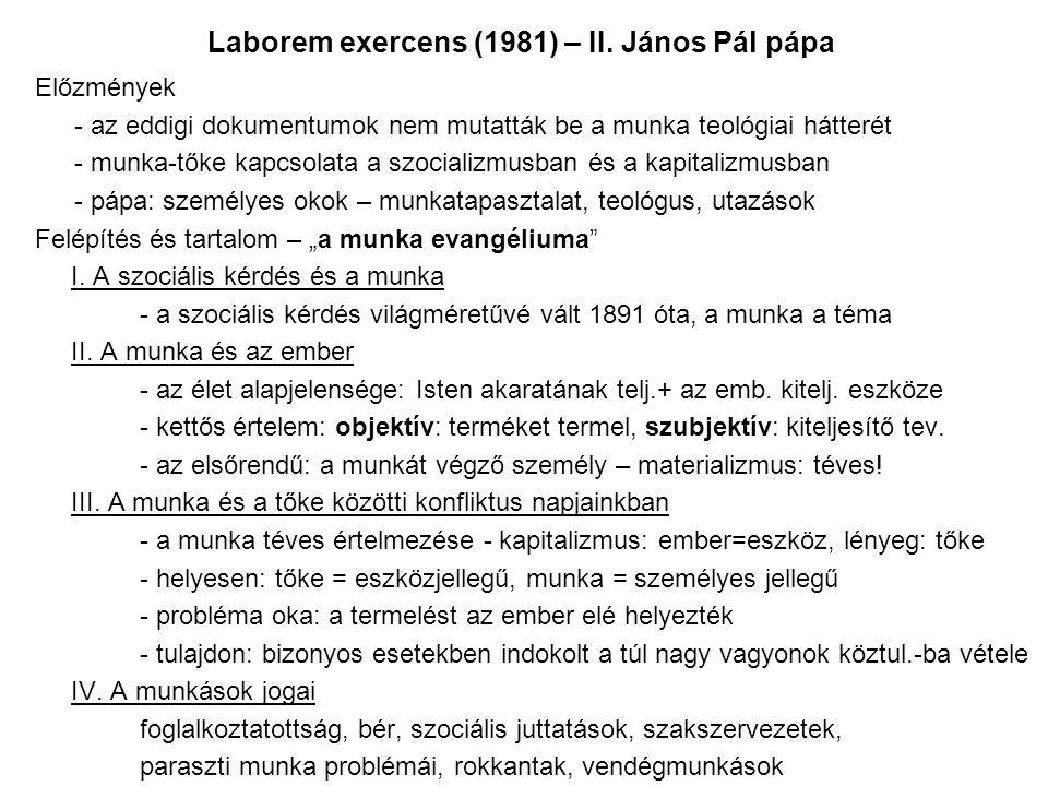 Laborem exercens (1981) – II.