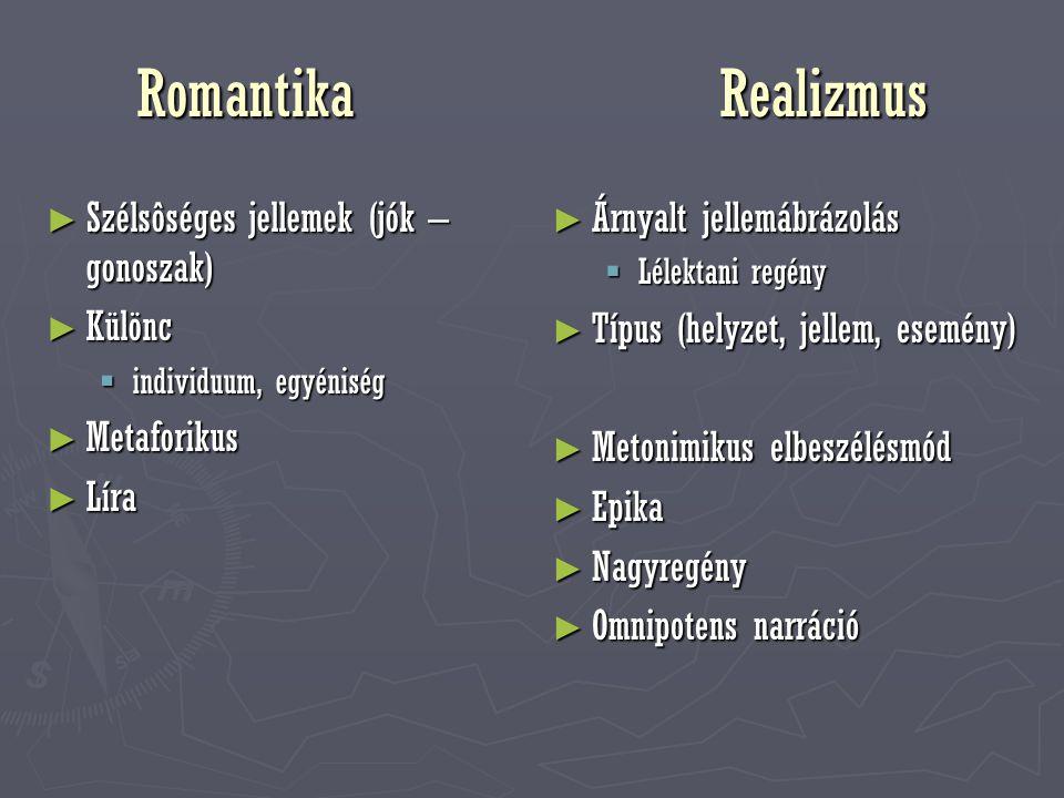 Romantika Realizmus ► Szélsôséges jellemek (jók – gonoszak) ► Különc  individuum, egyéniség ► Metaforikus ► Líra ► Árnyalt jellemábrázolás  Lélektan