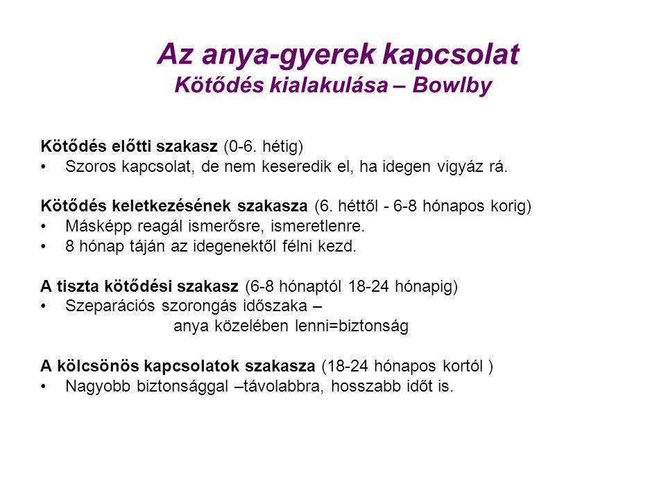 Az anya-gyerek kapcsolat Kötődés kialakulása – Bowlby Kötődés előtti szakasz (0-6. hétig) Szoros kapcsolat, de nem keseredik el, ha idegen vigyáz rá.