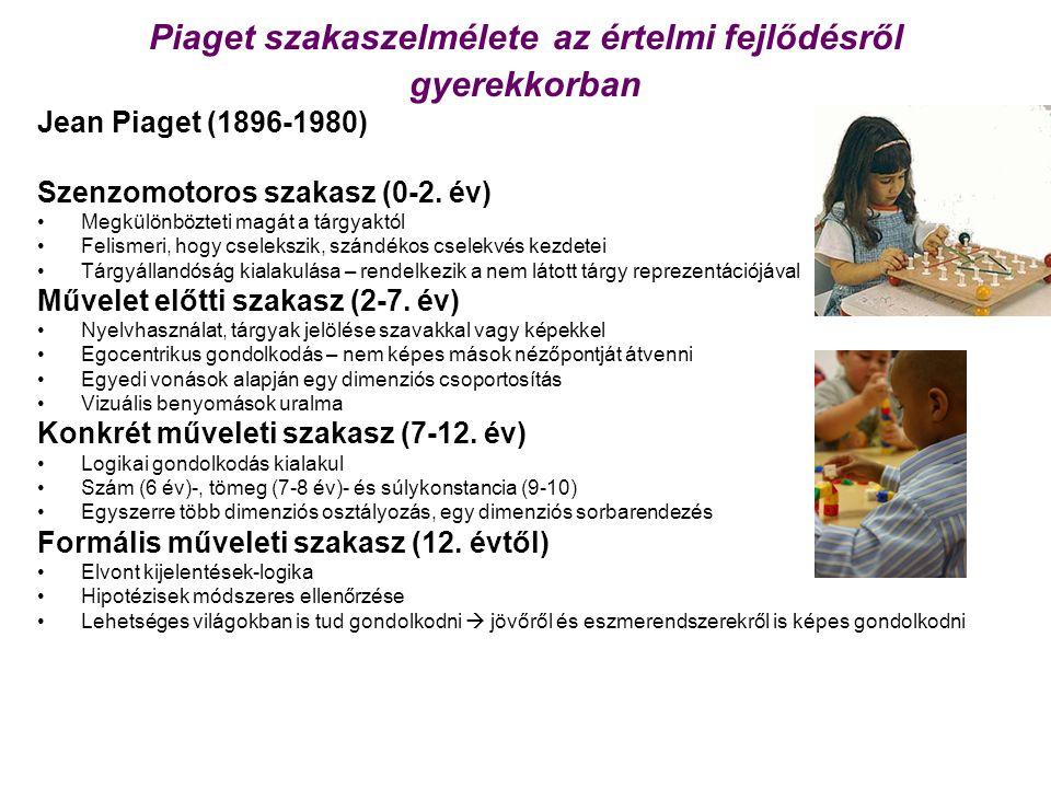 Piaget szakaszelmélete az értelmi fejlődésről gyerekkorban Jean Piaget (1896-1980) Szenzomotoros szakasz (0-2. év) Megkülönbözteti magát a tárgyaktól