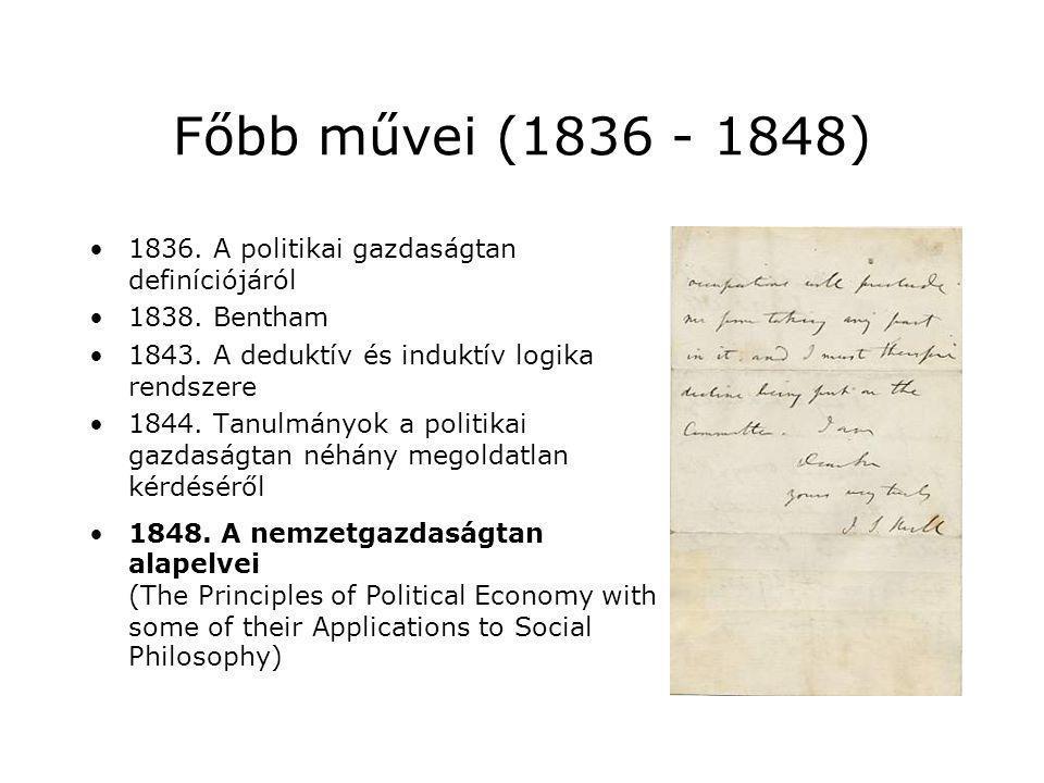 Főbb művei (1836 - 1848) 1836. A politikai gazdaságtan definíciójáról 1838. Bentham 1843. A deduktív és induktív logika rendszere 1844. Tanulmányok a