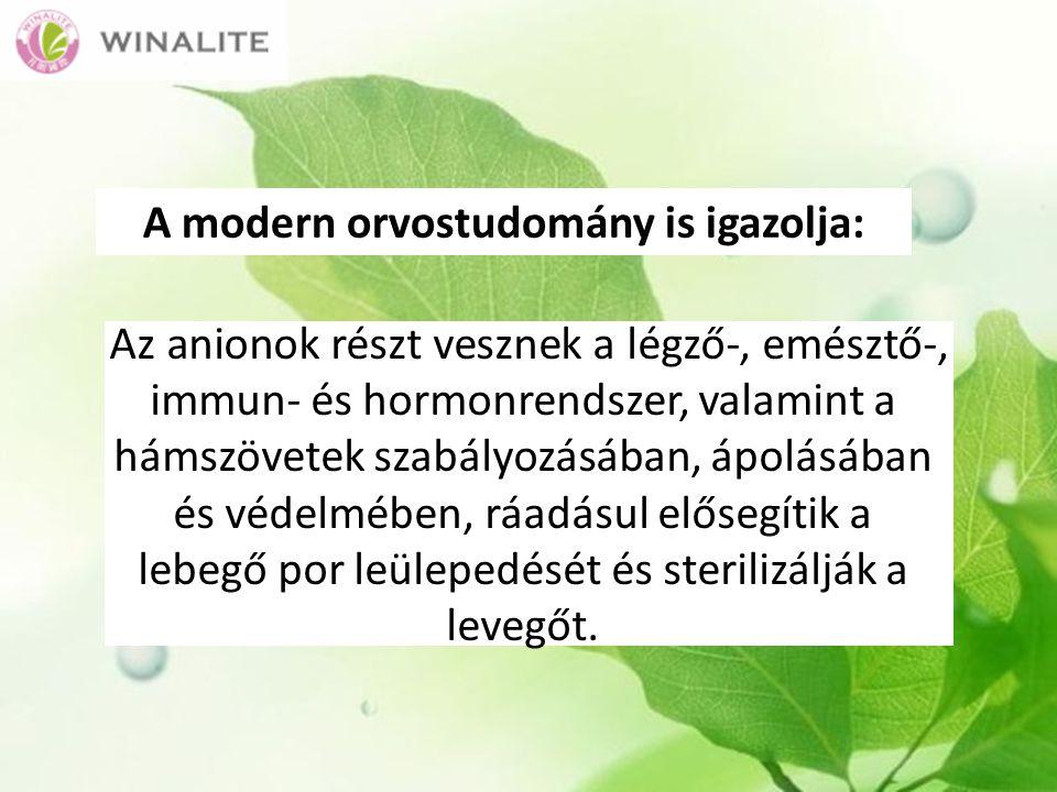 A modern orvostudomány is igazolja: Az anionok részt vesznek a légző-, emésztő-, immun- és hormonrendszer, valamint a hámszövetek szabályozásában, ápolásában és védelmében, ráadásul elősegítik a lebegő por leülepedését és sterilizálják a levegőt.