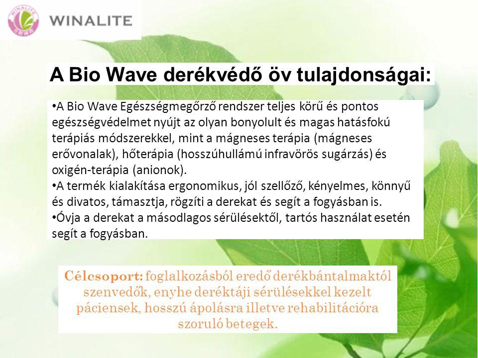 A Bio Wave derékvédő öv tulajdonságai: A Bio Wave Egészségmegőrző rendszer teljes körű és pontos egészségvédelmet nyújt az olyan bonyolult és magas hatásfokú terápiás módszerekkel, mint a mágneses terápia (mágneses erővonalak), hőterápia (hosszúhullámú infravörös sugárzás) és oxigén-terápia (anionok).