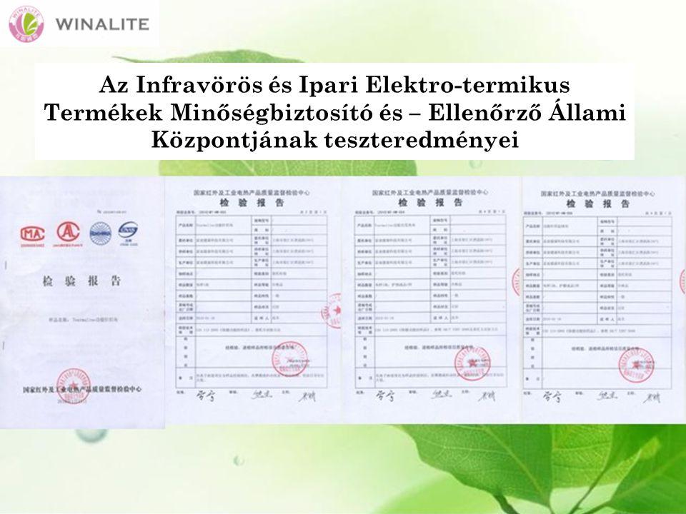 Az Infravörös és Ipari Elektro-termikus Termékek Minőségbiztosító és – Ellenőrző Állami Központjának teszteredményei