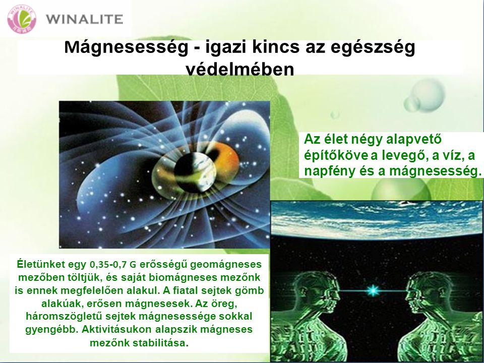 M ágnesesség - igazi kincs az egészség védelmében Az élet négy alapvető építőköve a levegő, a víz, a napfény és a mágnesesség.