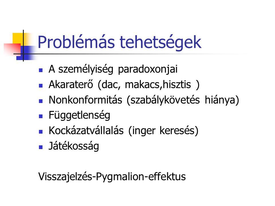 Problémás tehetségek A személyiség paradoxonjai Akaraterő (dac, makacs,hisztis ) Nonkonformitás (szabálykövetés hiánya) Függetlenség Kockázatvállalás