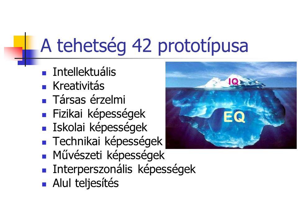 A tehetség 42 prototípusa Intellektuális Kreativitás Társas érzelmi Fizikai képességek Iskolai képességek Technikai képességek Művészeti képességek In