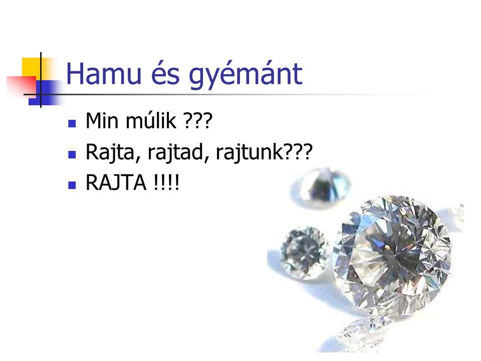 Hamu és gyémánt Min múlik ??? Rajta, rajtad, rajtunk??? RAJTA !!!!