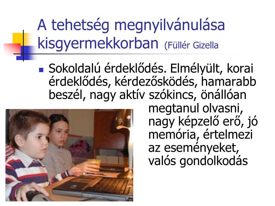 A tehetség megnyilvánulása kisgyermekkorban (Füllér Gizella Sokoldalú érdeklődés. Elmélyült, korai érdeklődés, kérdezősködés, hamarabb beszél, nagy ak