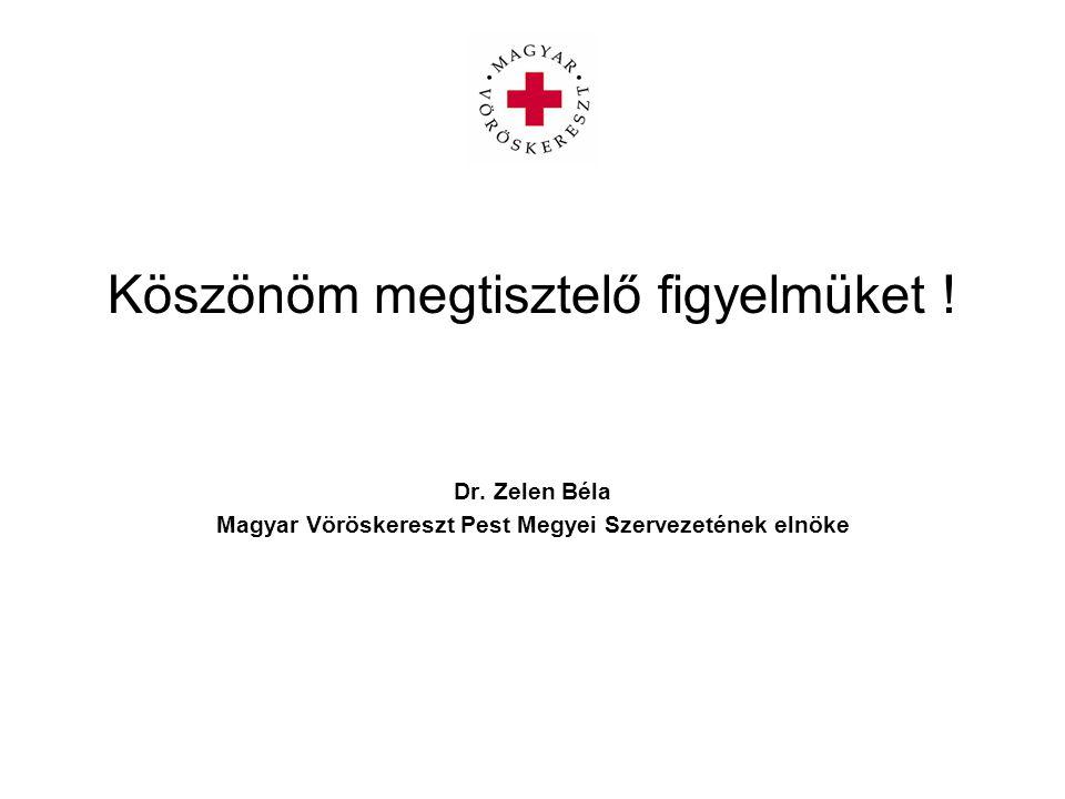 Köszönöm megtisztelő figyelmüket ! Dr. Zelen Béla Magyar Vöröskereszt Pest Megyei Szervezetének elnöke