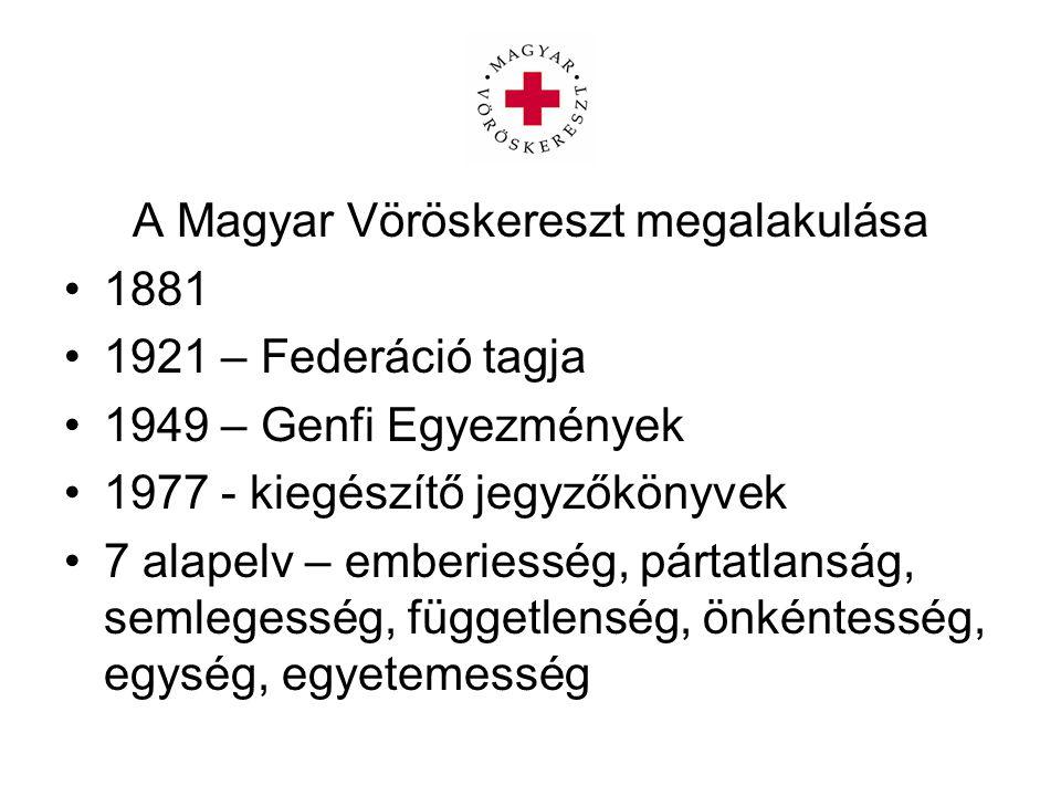 A Magyar Vöröskereszt megalakulása 1881 1921 – Federáció tagja 1949 – Genfi Egyezmények 1977 - kiegészítő jegyzőkönyvek 7 alapelv – emberiesség, párta