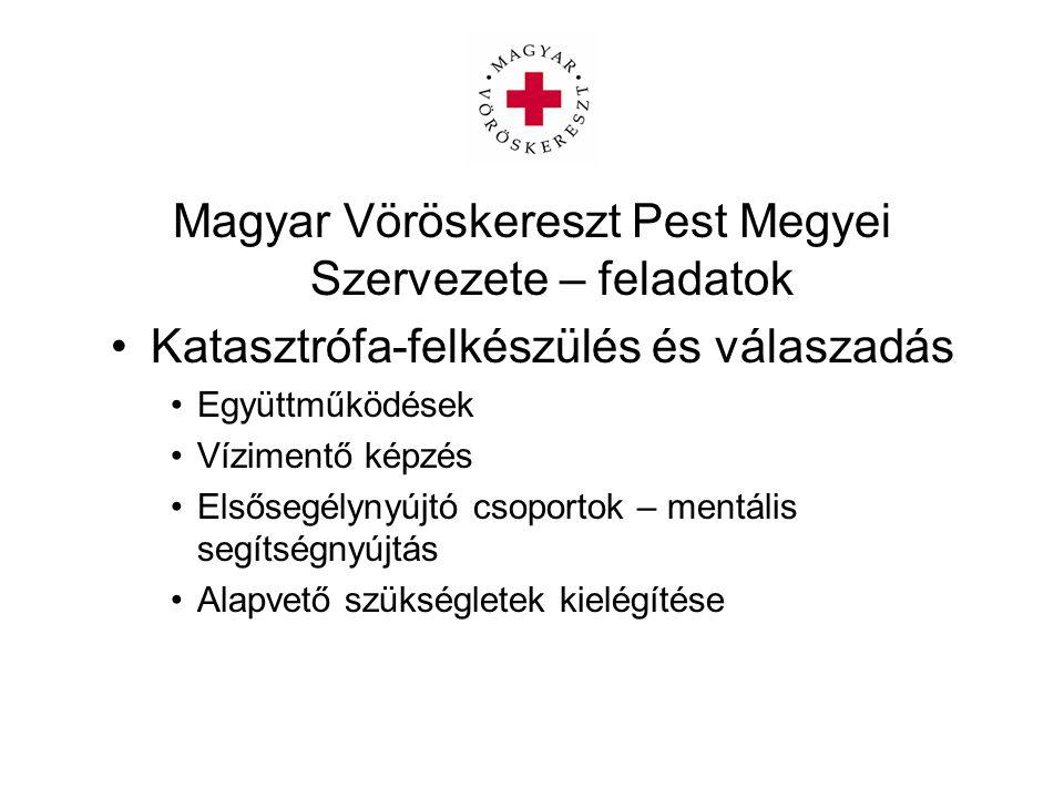 Magyar Vöröskereszt Pest Megyei Szervezete – feladatok Katasztrófa-felkészülés és válaszadás Együttműködések Vízimentő képzés Elsősegélynyújtó csoport