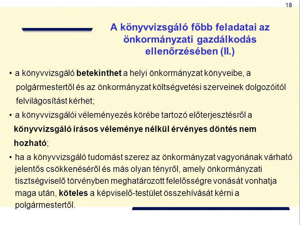 18 A könyvvizsgáló főbb feladatai az önkormányzati gazdálkodás ellenőrzésében (II.) a könyvvizsgáló betekinthet a helyi önkormányzat könyveibe, a polg