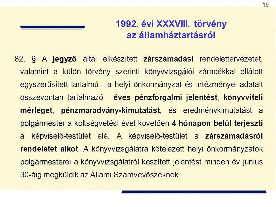 19 1992. évi XXXVIII. törvény az államháztartásról jegyző könyvvizsgáló polgármester képviselő-testületképviselő-testület polgármester 82. § A jegyző