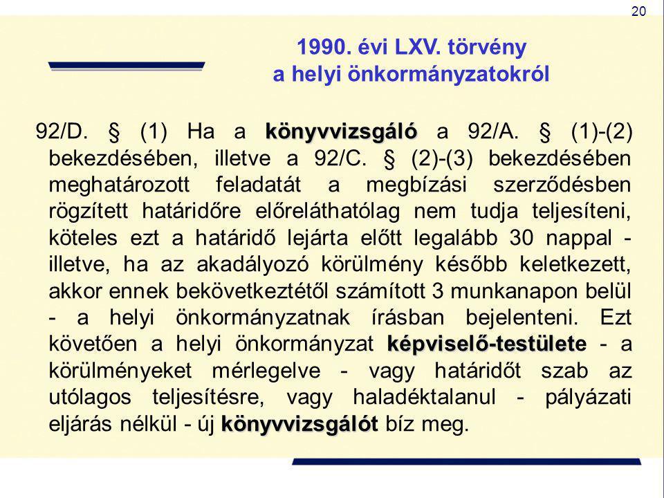 20 1990. évi LXV. törvény a helyi önkormányzatokról könyvvizsgáló képviselő-testület könyvvizsgáló 92/D. § (1) Ha a könyvvizsgáló a 92/A. § (1)-(2) be