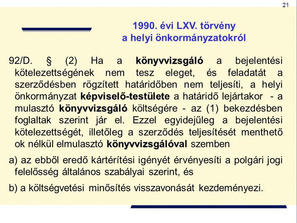 21 1990. évi LXV. törvény a helyi önkormányzatokról könyvvizsgáló képviselő-testület könyvvizsgáló könyvvizsgáló 92/D. § (2) Ha a könyvvizsgáló a beje