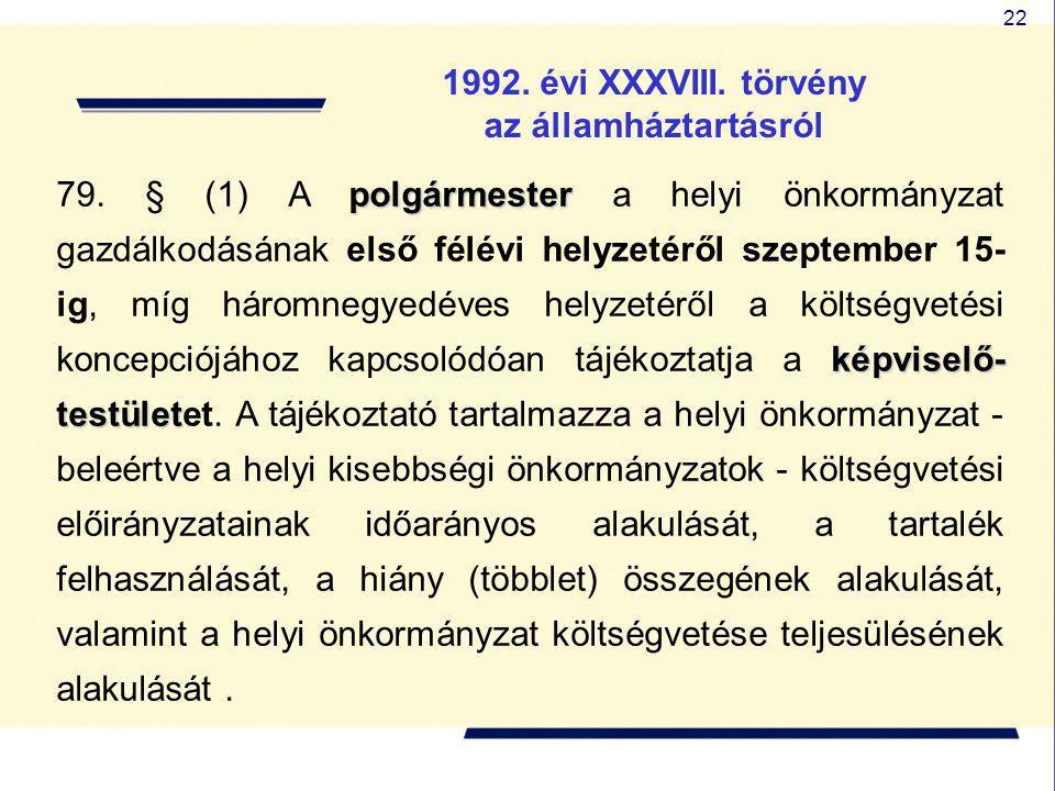 22 1992. évi XXXVIII. törvény az államháztartásról polgármester képviselő- testület 79. § (1) A polgármester a helyi önkormányzat gazdálkodásának első