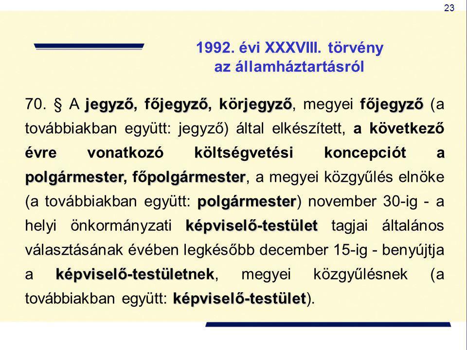 23 1992. évi XXXVIII. törvény az államháztartásról jegyzőjegyzőjegyzőjegyző polgármesterpolgármester polgármester képviselő-testület képviselő-testüle