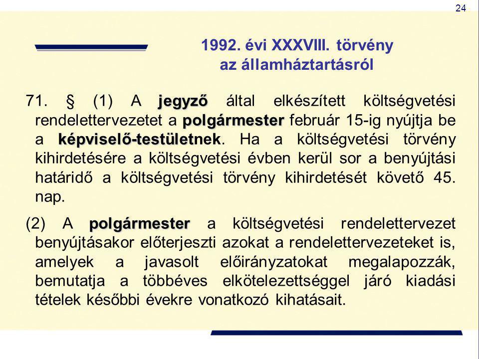 24 1992. évi XXXVIII. törvény az államháztartásról jegyző polgármester képviselő-testület 71. § (1) A jegyző által elkészített költségvetési rendelett